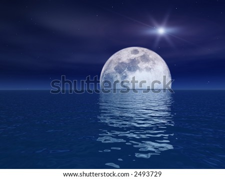 Quasar Star Over Night Moon Over Sea - stock photo