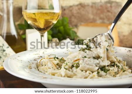 Quattro Formaggi Pasta/Four Cheeses Pasta - stock photo