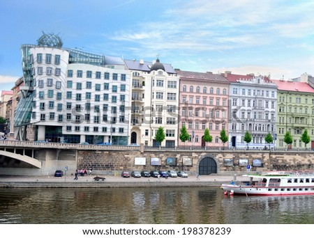 Quay in the center of Prague. Czech Republic - stock photo
