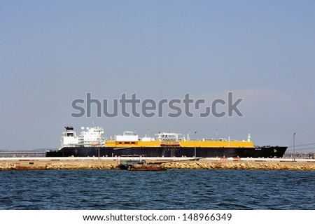 quay methane tanker to discharge its cargo in France with the wearing of Fos-sur-Mer beside Marseille - stock photo