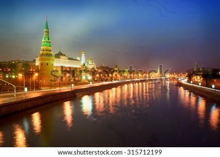 Quay Moskva River. A night scene. Kremlin - stock photo