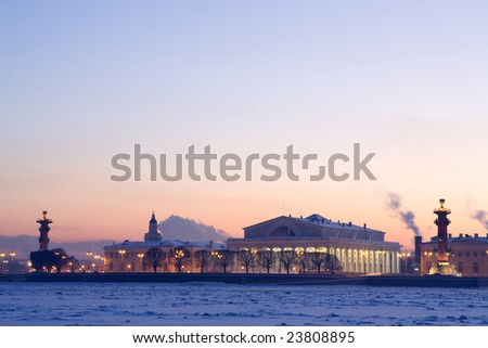 Quay of St. Petersburg. winter