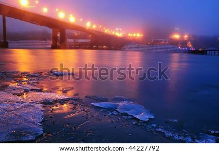 Quay of the big city. Winter. Fog. Night. Rostov-on-Don. Russia - stock photo
