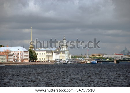 Quay of the Neva river and view of Vasiljevsky Island in Saint-Petersburg, Russia.