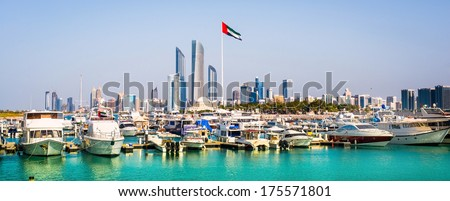 quay with yachts and skyscrapers in Abu Dhab