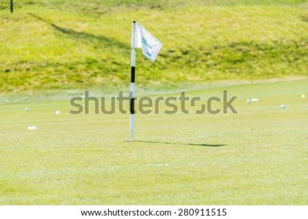 Quba - MARCH 26, 2015: Golf Course at Quba Rixos Hotel on March 26 in Azerbaijan, Quba. Rixos hotel offers the only golf range in Azerbaijan - stock photo