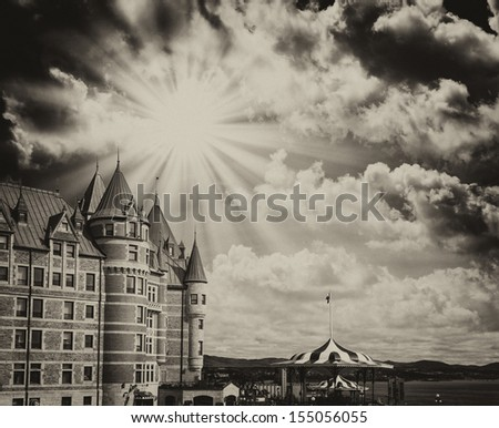 Quebec, Canada. Terrific view of Hotel de Frontenac with colourful sky. - stock photo
