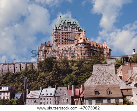 Quebec City and Chateau Frontenac on a summer day. - stock photo
