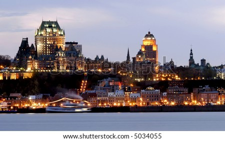 Quebec City by Night - stock photo