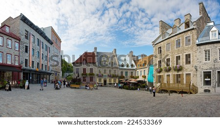 QUEBEC CITY, CANADA - AUGUST 22:A panoramic photostitch of the historic district Old Quebec, a UNESCO world heritage site August 22, 2014 in Quebec City, Canada. - stock photo