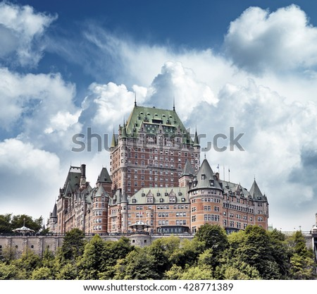 QUEBEC CITY, CANADA - AUGUST 21: Chateau Frontenac Hotel on August 21, 2010 in Quebec City, Canada. The first version of this castle like hotel was designed by Bruce Price and opened to public in 1893 - stock photo