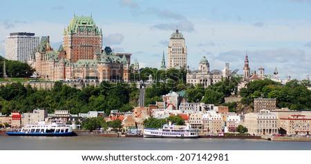 QUEBEC CITY, CANADA - AUGUST 23: From Levis Chateau Frontenac of Old Quebec, a UNESCO world heritage treasure on August 23, 2012 in Quebec City, Canada. - stock photo