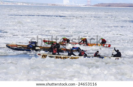 QUEBEC CITY, CANADA - FEBRUARY 8. Quebec Carnival 2009: International Ice Canoe Race on St. Lawrence River. Main event of the carnival.