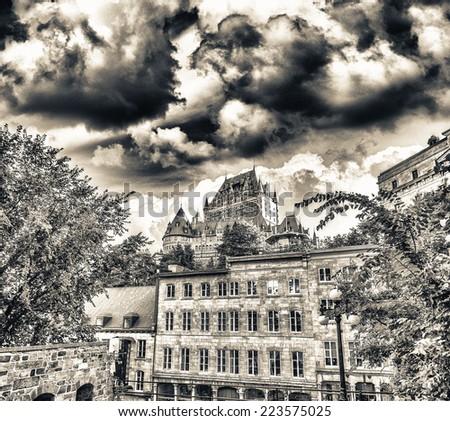 Quebec City, Canada. Hotel de Frontenac and city skyline at dusk. - stock photo