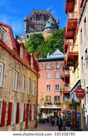 QUEBEC CITY, CANADA - SEP 10: Street view with Chateau Frontenac in the day on September 10, 2012 in Quebec City, Canada. As the capital of Quebec, it is one of the oldest cities in North America. - stock photo