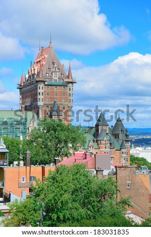 Quebec City cityscape panorama with cloud, blue sky and historical buildings. - stock photo