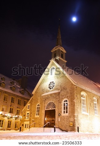 Quebec city famous landmark. The church at Place Royale. Winter in Quebec, Canada. - stock photo