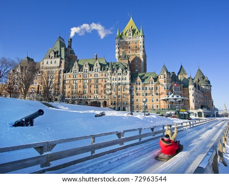 Quebec City in winter, traditional slide decent - stock photo