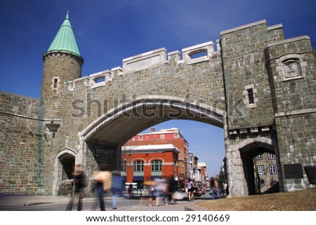 Quebec City landmark: Fortress day scene at Place d'Youville. - stock photo