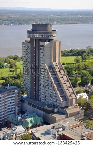 Quebec City Loews Hotel Le Concorde and St Lawrence River Aerial view in summer, Quebec, Canada - stock photo