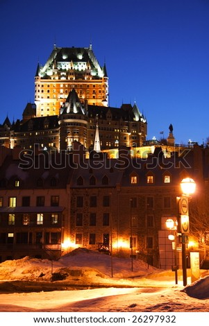 Quebec City night scene with Chateau Frontenac - stock photo