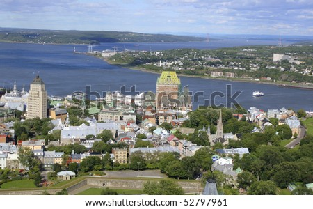 Quebec City skyline, aerial view, Canada - stock photo