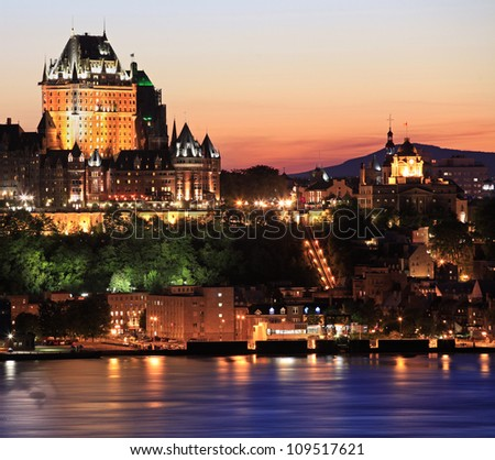 Quebec City skyline at dusk, Canada - stock photo