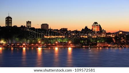 Quebec City skyline at dusk, Canada - stock photo