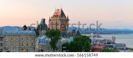 Quebec City skyline panorama with Chateau Frontenac at sunset viewed from hill - stock photo