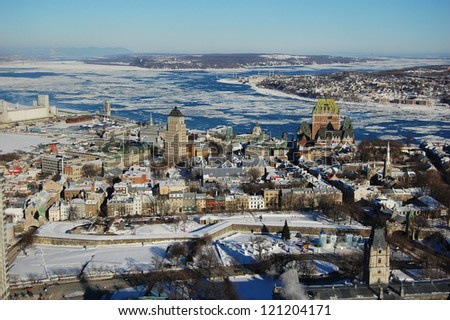 Quebec City skyline viewed from Observatoire de la Capitale, Quebec City, Quebec, Canada - stock photo