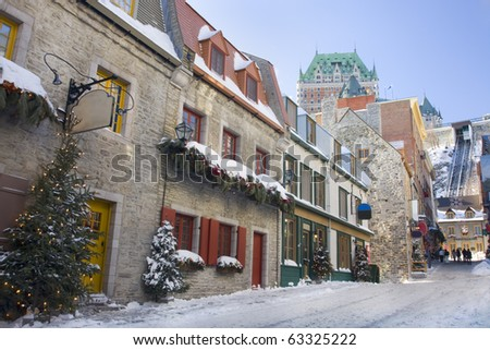 Quebec City streets, Chateau Frontenac - stock photo