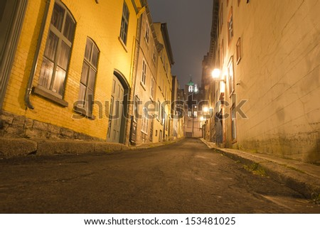 quebec city streets night view - stock photo