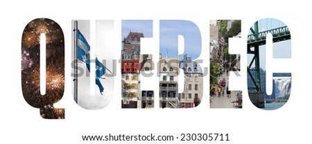 Quebec colorful landmarks letters - stock photo