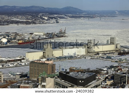 quebec is port and a view at the st-lawrence river - stock photo