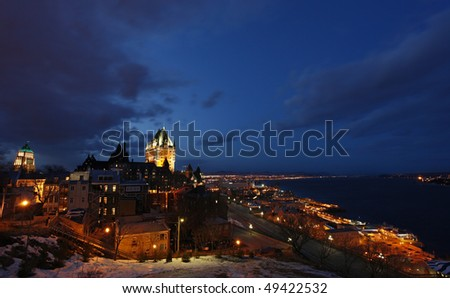 Quebec Old City and the Saint Lawrence River at Night - stock photo