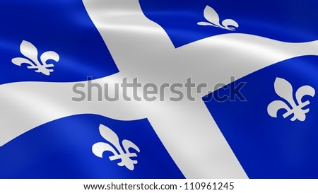 Quebecker flag in the wind. Part of a series. - stock photo