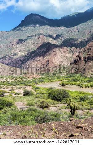 Quebrada de las Conchas along Route 68 near Cafayate city in Salta Province, northern Argentina - stock photo