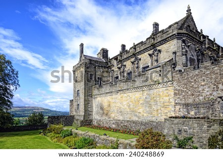 Queen Anne garden and Royal Palace at Stirling castle, Scotland. Located in Stirling, is one of the largest and most important castles, both historically and architecturally, in Scotland.  - stock photo