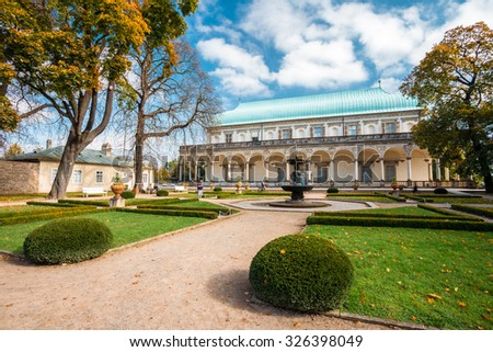 Queen Anne's Summer Palace in Prague, Czech Republic. Built in 1538-1565. Beautiful Renaissance building in the Royal Gardens of the Prague Castle. - stock photo