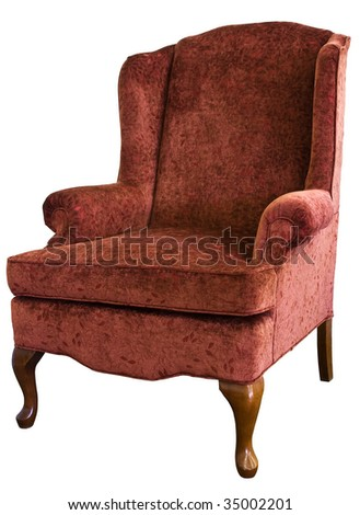Queen Anne Wing Chair In Velvet Floral Fabric