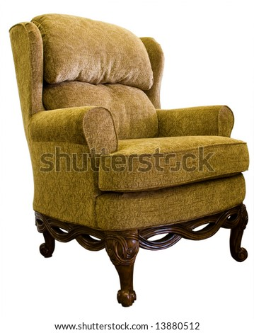 queen anne wing chair with oak wood legs