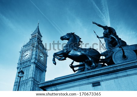 Queen Bodica statue in Westminster in London. - stock photo