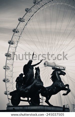 Queen Bodica statue in Westminster in London. Black and white - stock photo