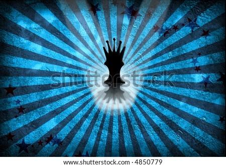 Queen Chess Piece on blue grunge - stock photo