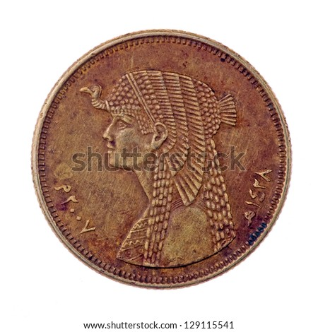 Queen Cleopatra, coin of fifty piastres isolated on white - stock photo