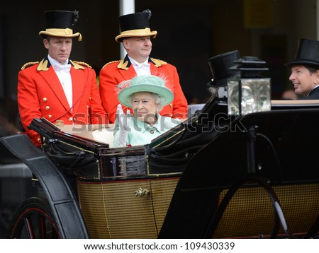 Queen Elizabeth II attends Ladies Day at the annual Royal Ascot horse racing event. Ascot, UK. June 21, 2012, Ascot, UK Picture: Catchlight Media / Featureflash
