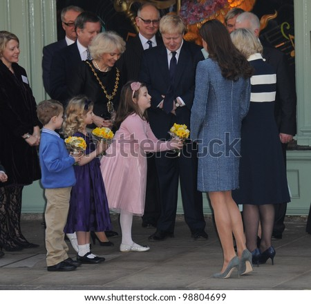 Queen Elizabeth II, Camilla Duchess of Cornwall and Catherine Duchess of Cambridge visit Fortnum and Mason, London, UK. March 1, 2012, London, UK Picture: Catchlight Media / Featureflash - stock photo