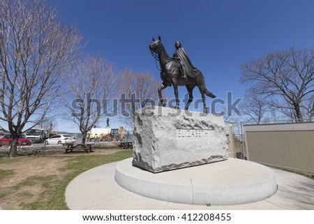 Queen Elizabeth Statue - April 27, 2016, Ottawa, Ontario - Canada - stock photo
