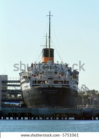 Queen Mary Ship Sitting in Harbor (Back View) - stock photo