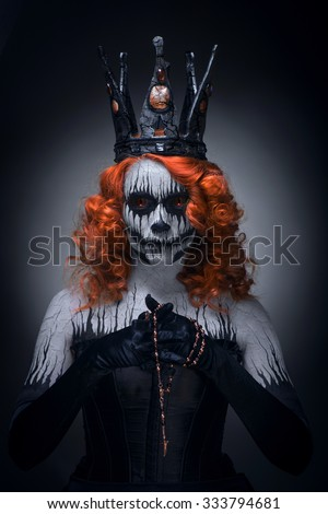 Queen of death, scary body art to halloween  - stock photo